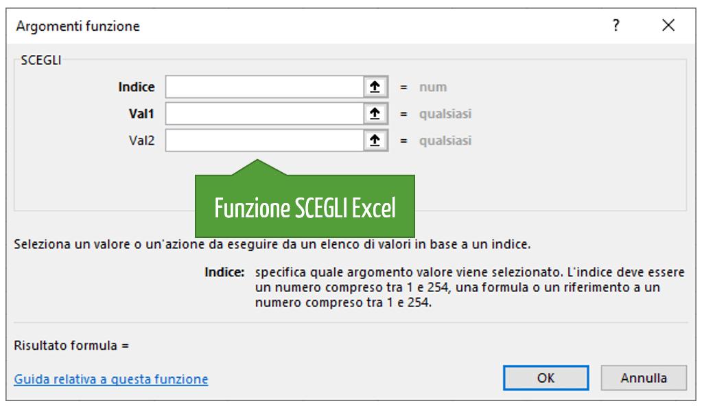 la sintassi della funzione scegli Excel