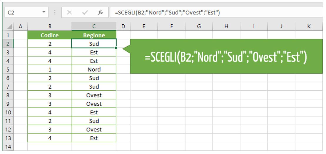 Utilizzare della funzione SCEGLI con un valore