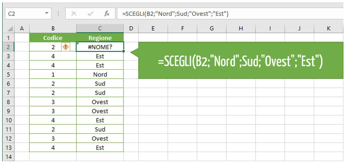 Gli errori della funzione SCEGLI
