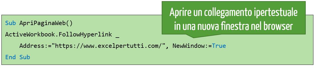 Aprire un collegamento ipertestuale in una nuova finestra nel browser utilizzando VBA