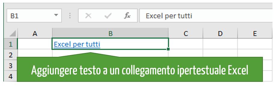 Aggiungere il testo da visualizzare nel collegamento ipertestuale Excel