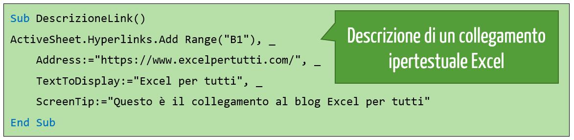 Aggiungere una descrizione al collegamento ipertestuale Excel