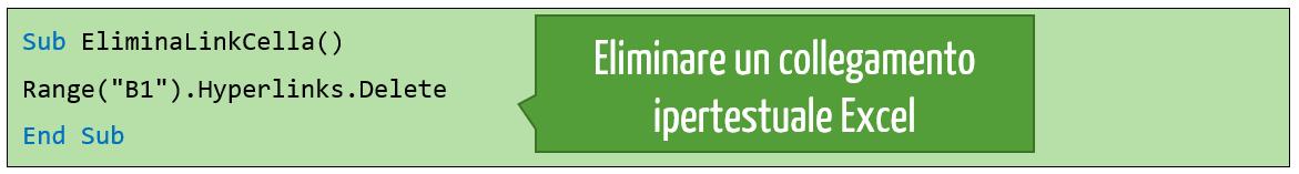 Excel collegamento ipertestuale | Come eliminare un collegamento ipertestuale da una cella con VBA
