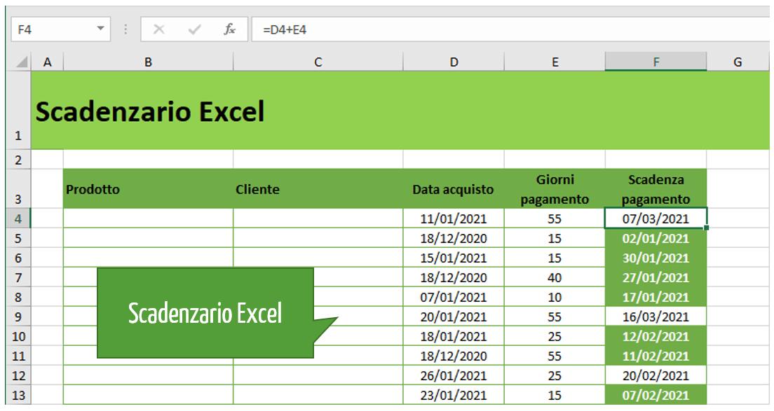scadenzario Excel