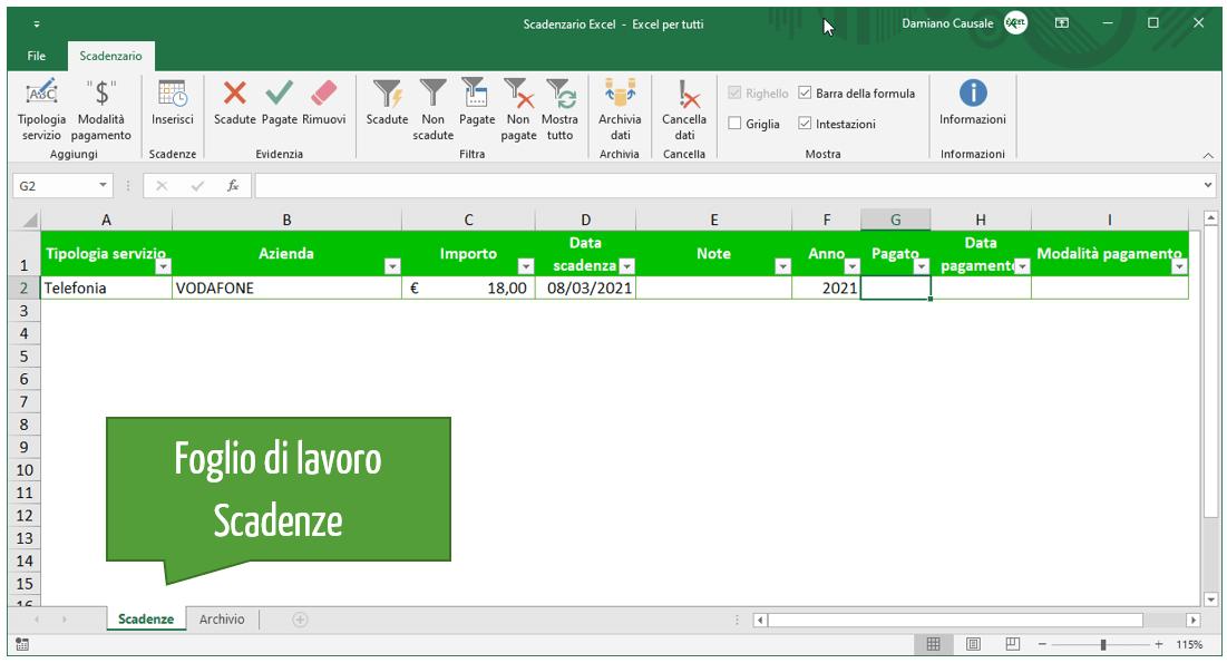 Foglio di lavoro scadenze | Excel scadenzario