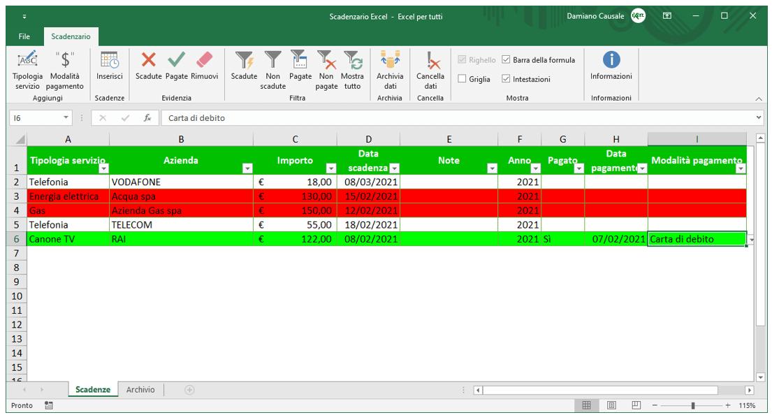 scadenziario fornitori Excel | scadenziario fiscale Excel