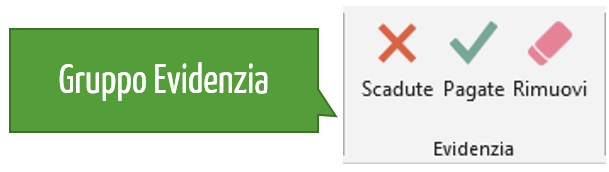 Scadenzario Excel: il gruppo Evidenzia