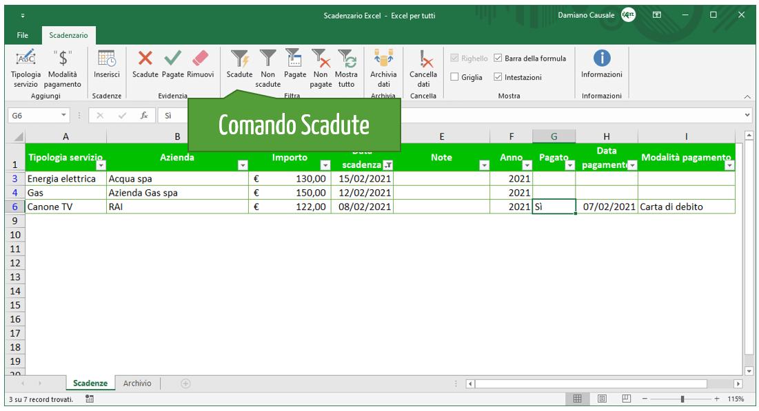 Comando Excel Scadute | Gestione scadenze Excel