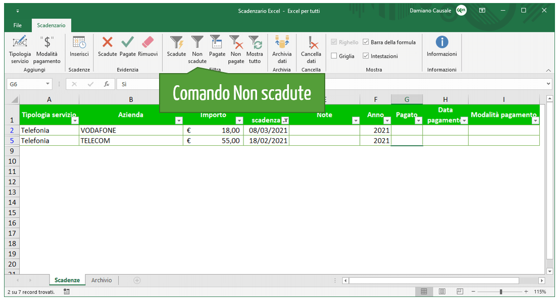 Comando Excel Non scadute | Gestione scadenze Excel