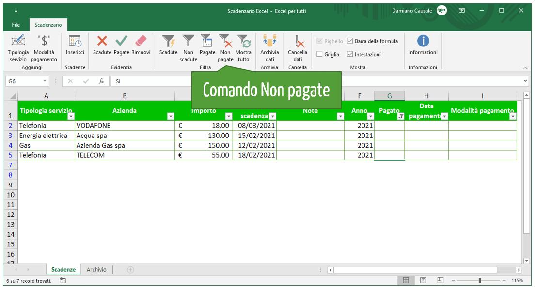 Comando Excel Non pagate | Gestione scadenze Excel