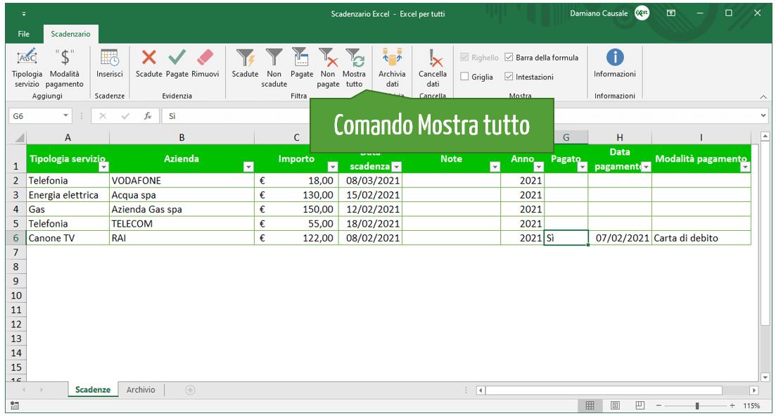 Comando Excel Mostra tutto | Gestione scadenze Excel