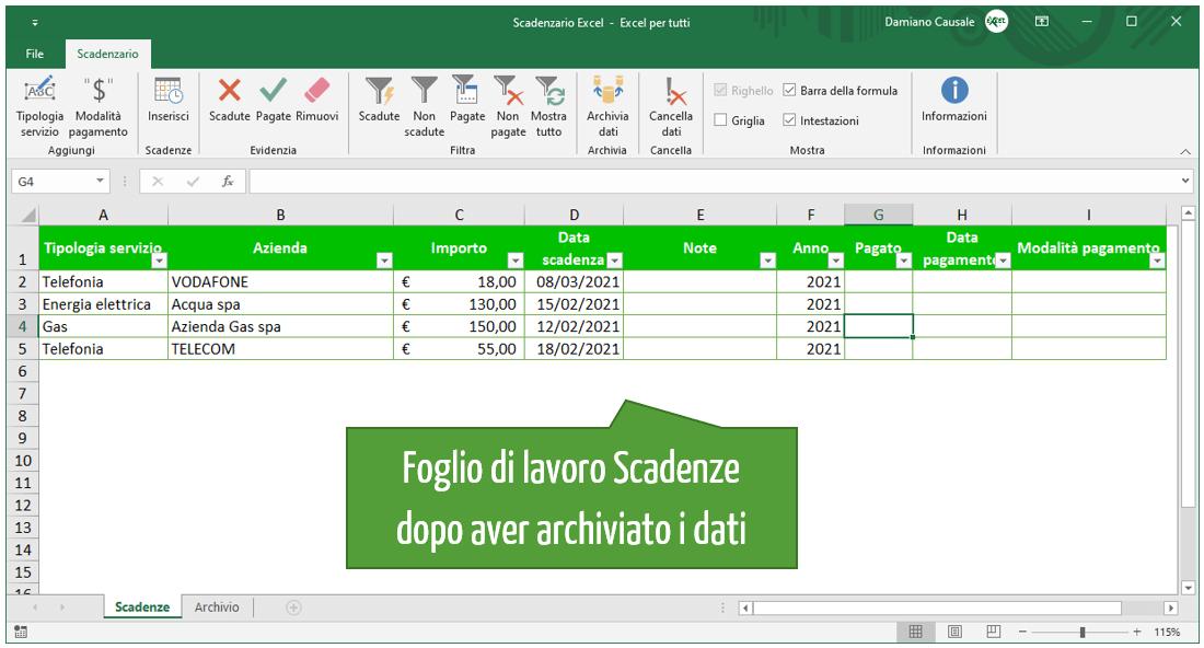 foglio di lavoro Scadenze Excel