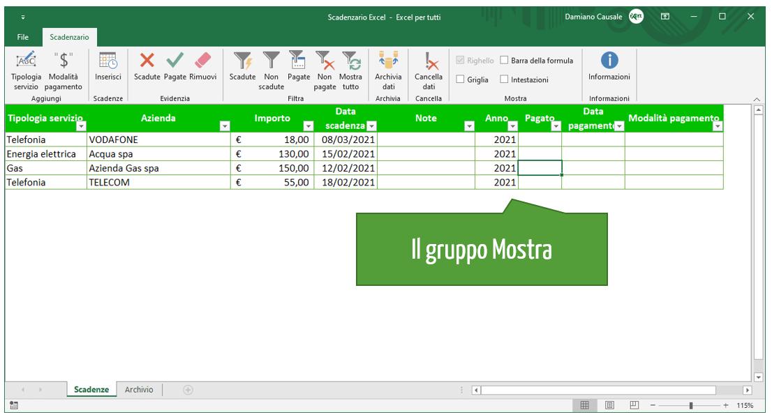 Scadenzario su Excel: il gruppo Mostra
