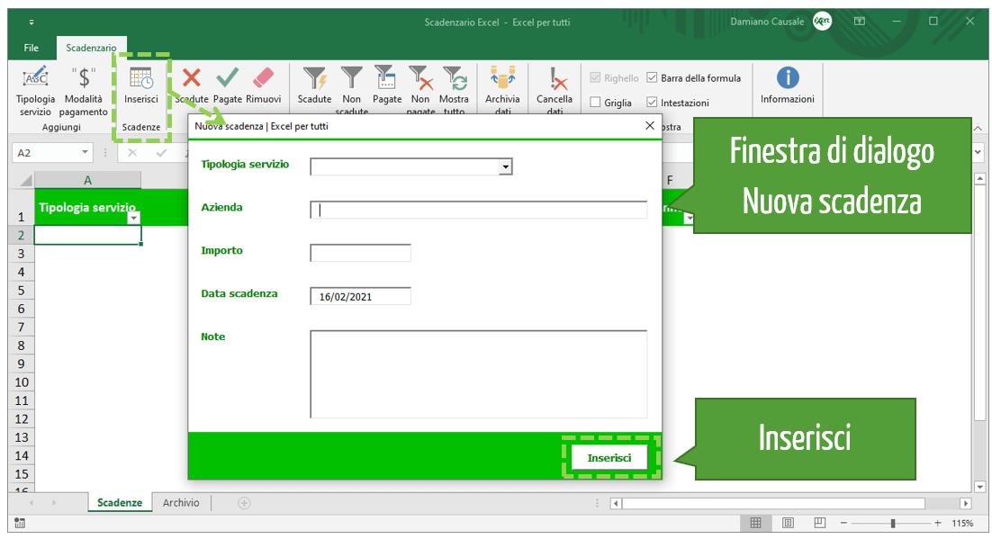 Come inserire le scadenze nello scadenzario di Excel per tutti