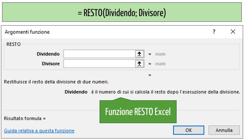 La sintassi della funzione RESTO Excel
