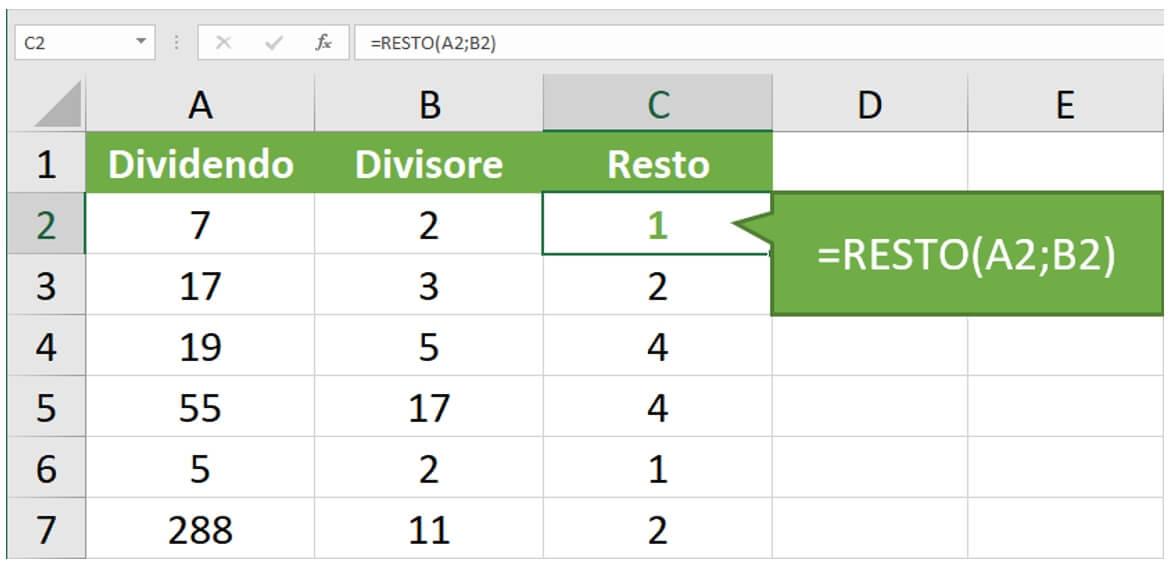 Calcolo Excel resto divisione