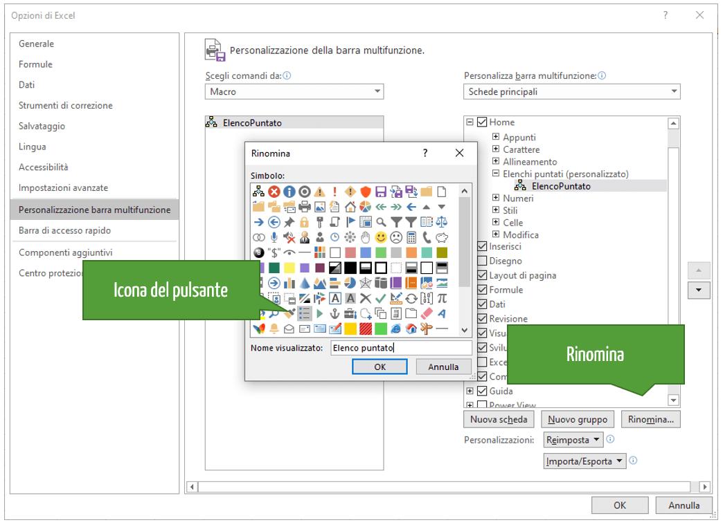 Elenco puntato in Excel con le macro