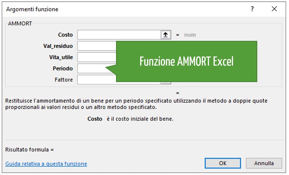 funzione AMMORT Excel