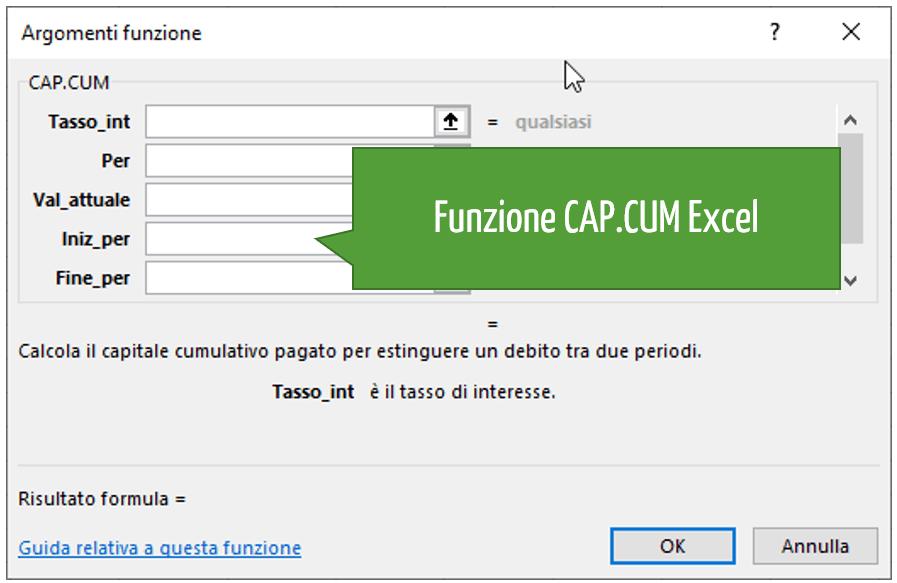 Funzione CAP.CUM Excel