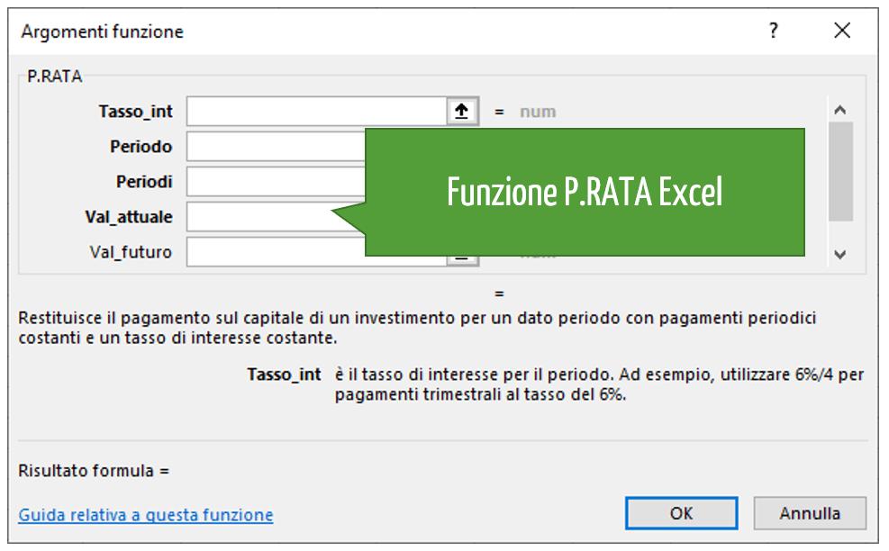 Funzione P.RATA Excel