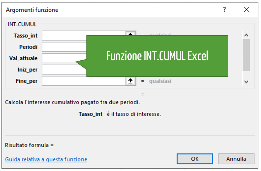 Funzione INT.CUMUL Excel