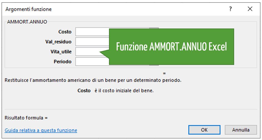 Funzione AMMORT.ANNUO Excel
