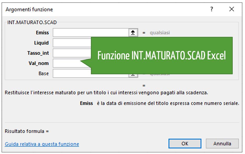 Funzione INT.MATURATO.SCAD Excel