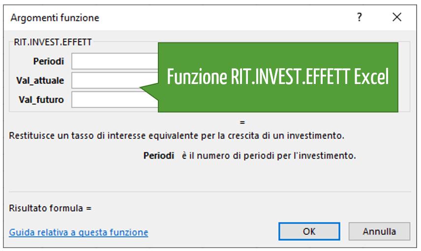 Funzione RIT.INVEST.EFFETT Excel