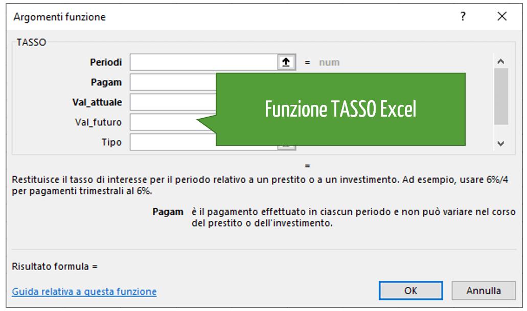 Funzione TASSO Excel