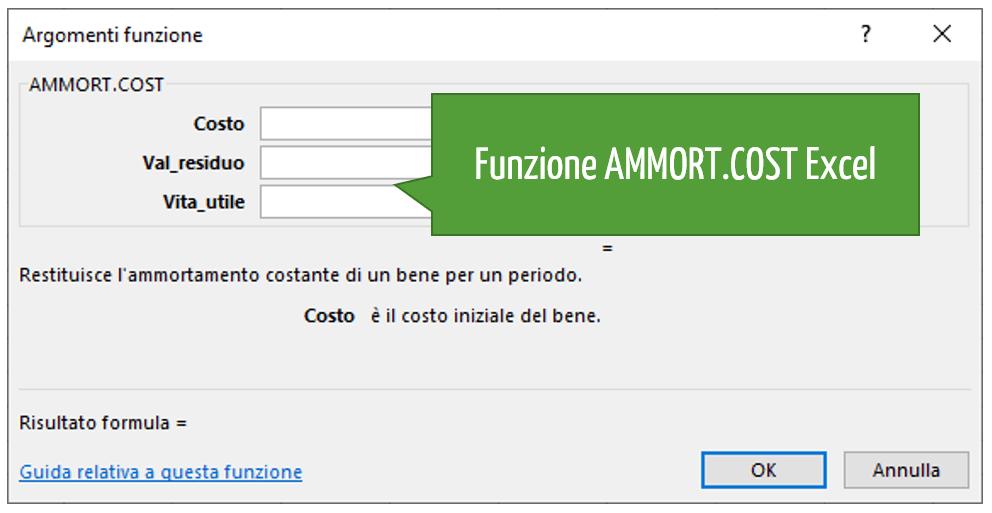 Funzione AMMORT.COST Excel