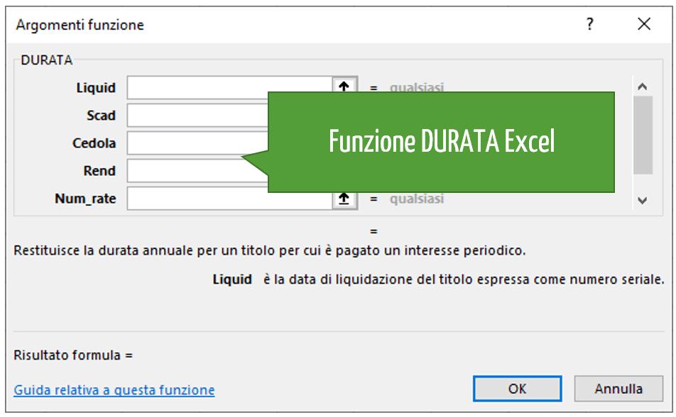 Funzione DURATA Excel
