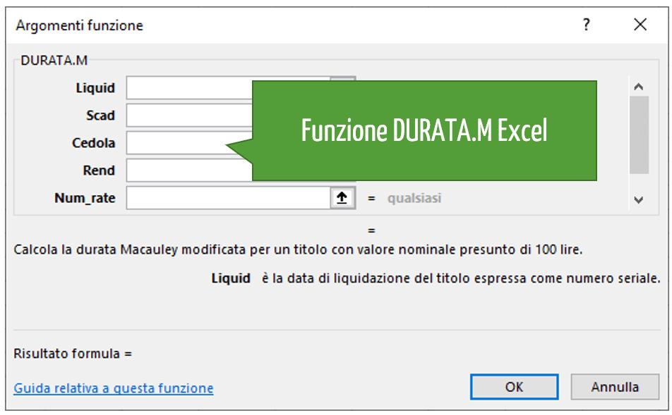 Funzione DURATA.M Excel