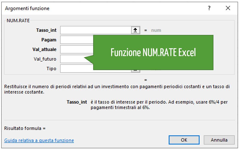 Funzione NUM.RATE Excel