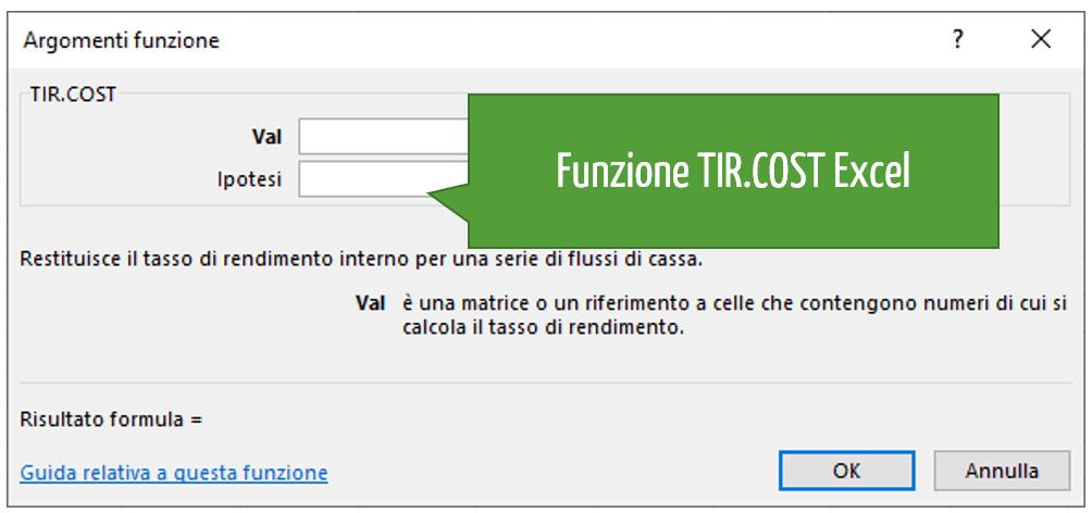 Funzione TIR.COST Excel
