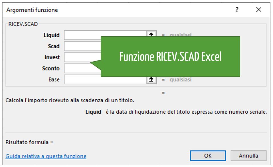 Funzione RICEV.SCAD Excel