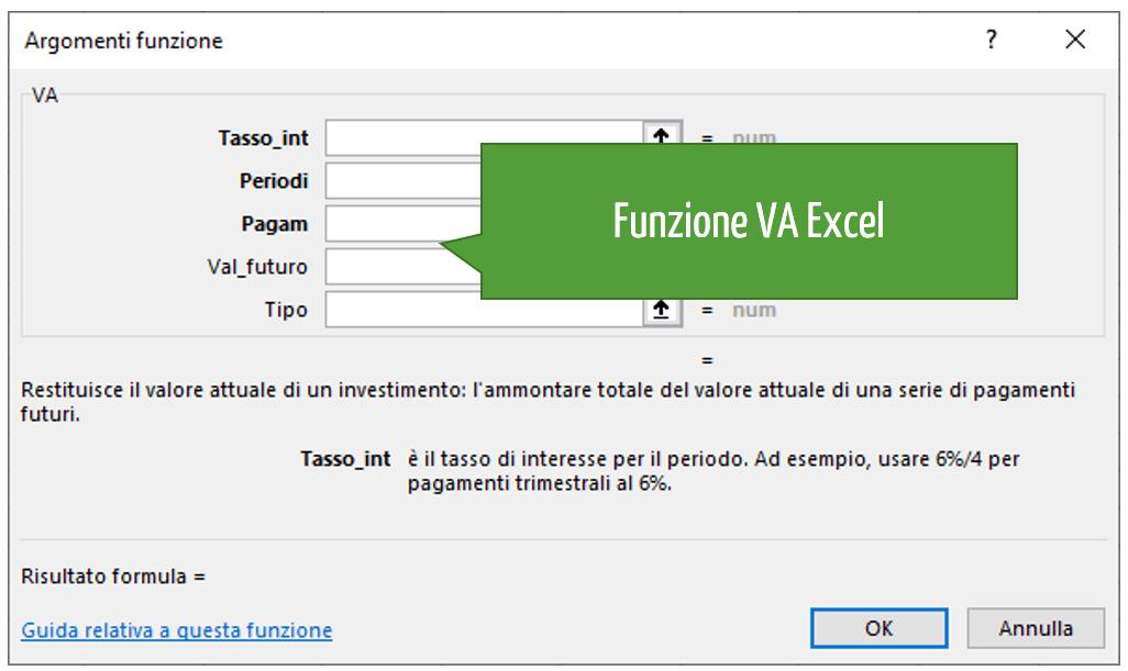 Funzione VA Excel