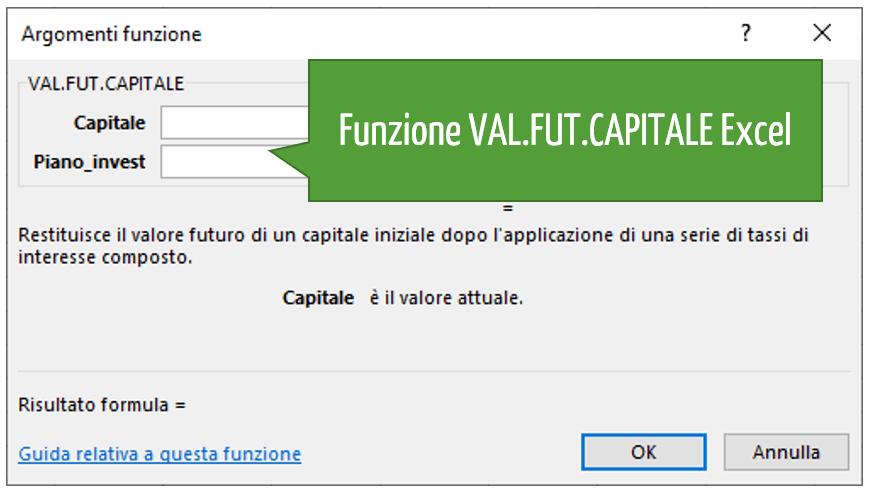 Funzione VAL.FUT.CAPITALE Excel