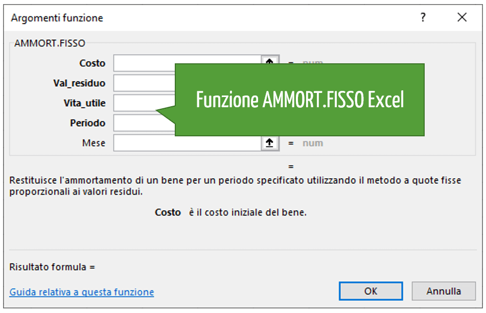 Funzione AMMORT.FISSO Excel