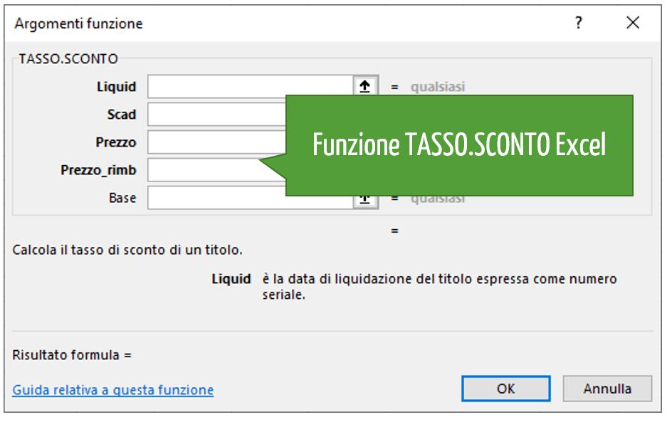 Funzione TASSO.SCONTO Excel