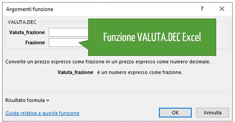 Funzione VALUTA.DEC Excel