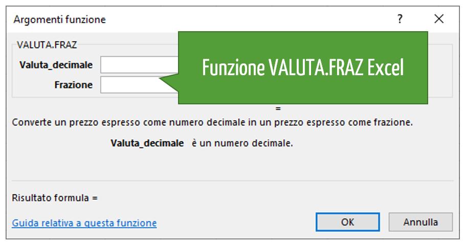 Funzione VALUTA.FRAZ Excel