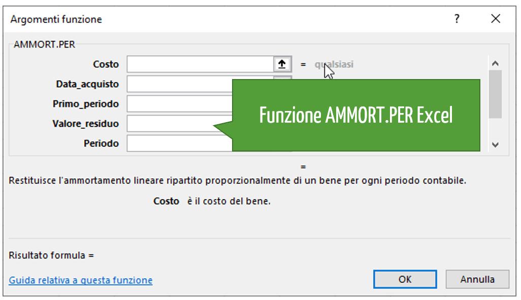 Funzione AMMORT.PER Excel