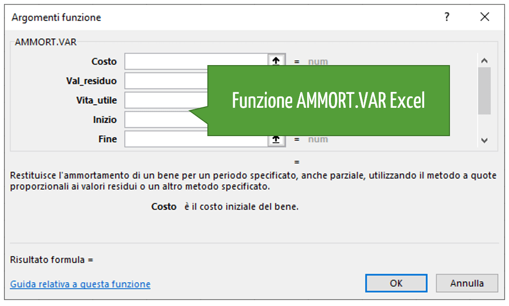 Funzione AMMORT.VAR Excel