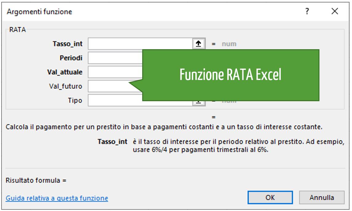 La sintassi della funzione RATA Excel