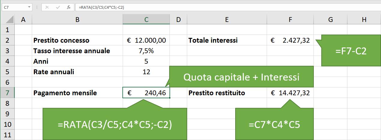 Come calcolare la rata mutuo in Excel