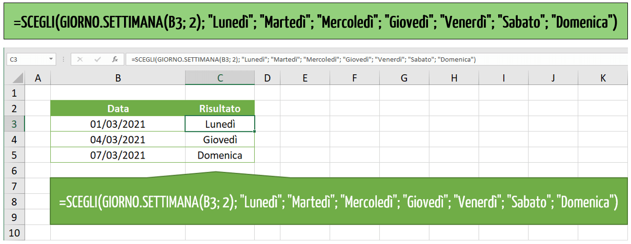 calcolo giorno settimana   Excel giorno settimana