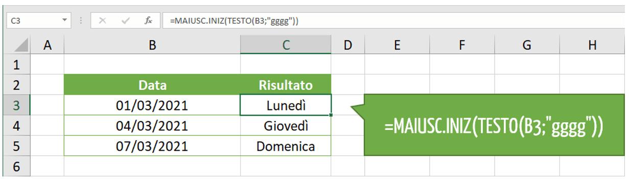 giorno settimana Excel