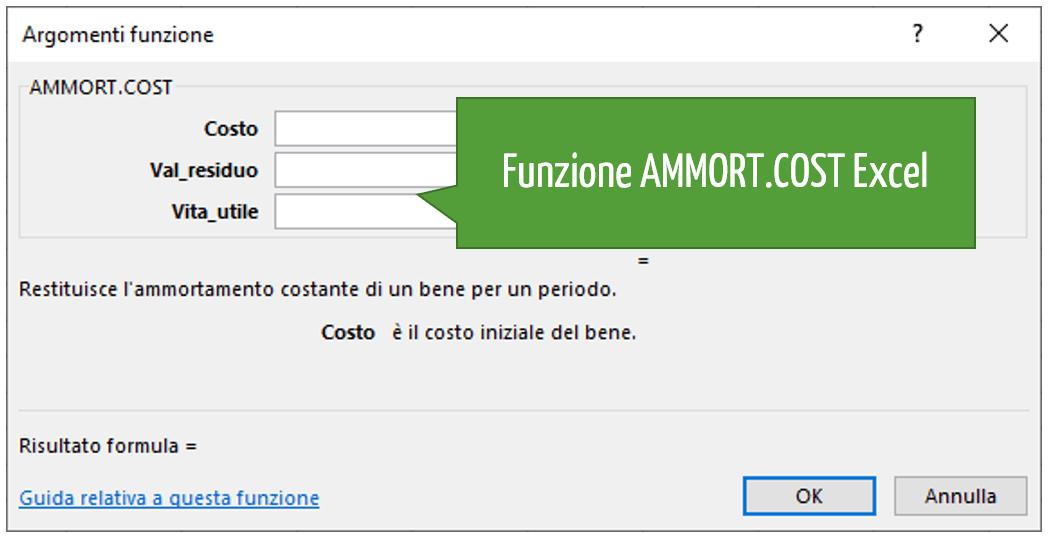 La sintassi della funzione AMMORT.COST Excel