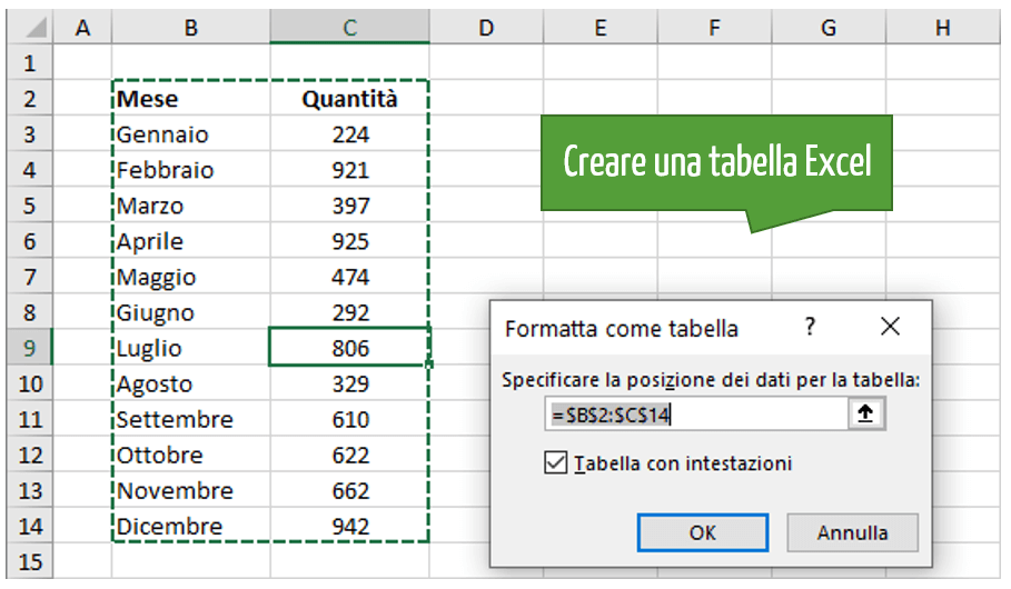 Creare una tabella Excel