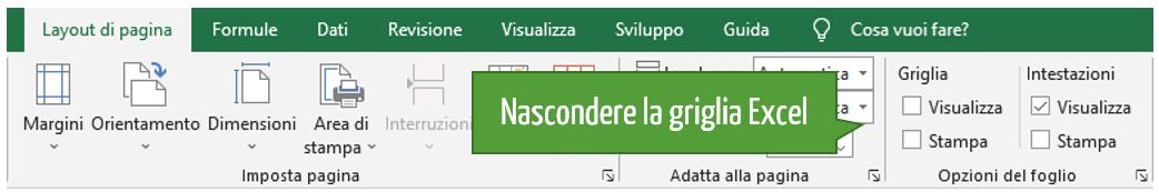 Come nascondere la griglia su Excel